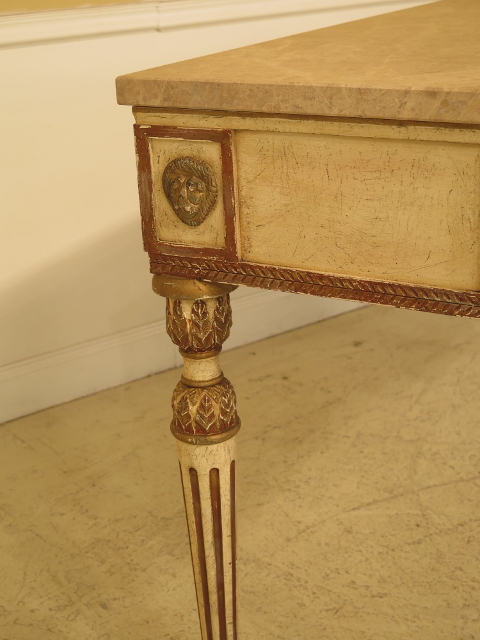 Marble Vintage Baker Historic Charleston Collection Marble Top Console Table  For Sale   Image 7 Of