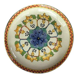 Vintage Mexican Talavera Pottery Hand Enameled Serving Platter/Bowl For Sale