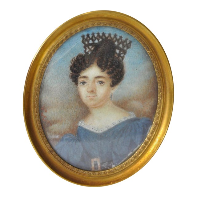 Mid 19th Century Mid 19th Century English School Miniature Portrait of a Lady in a Blue Dress For Sale - Image 5 of 5