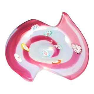 Unique Large Opalescent White Murano Glass Bowl With Raspberry Pink Swirls and Murrines by Fratelli Toso - Labeled For Sale