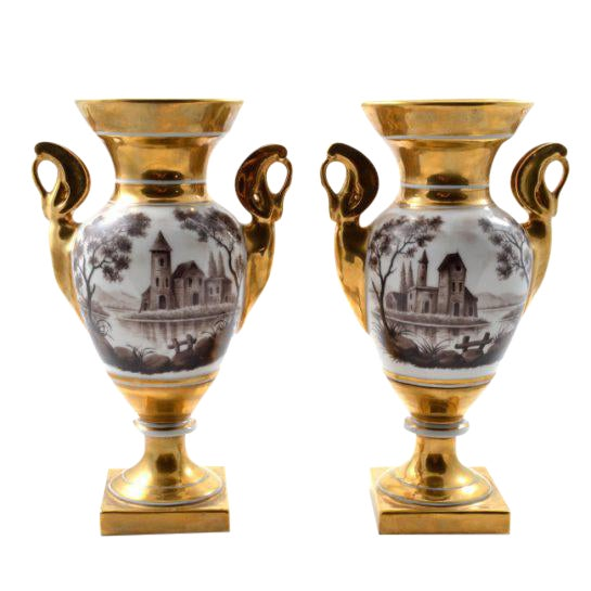 19th Century Antique French Porcelain Vases-a Pair For Sale
