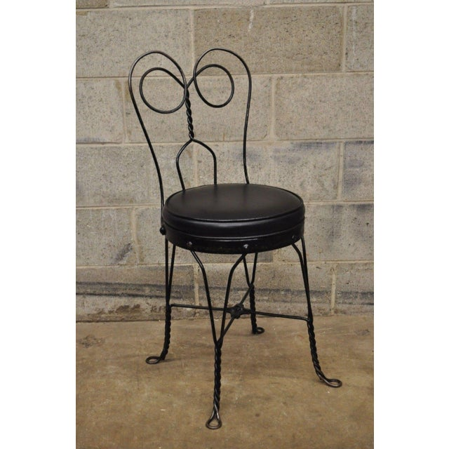 Antique Twisted Heart Back Wrought Iron Ice Cream Parlor Dining Chairs - Set of 4 For Sale - Image 4 of 11