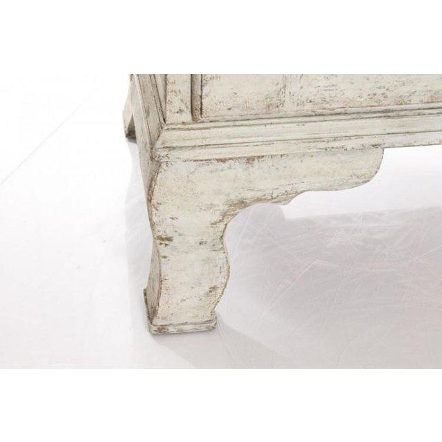 19th Century Antique White Gustavian Style Vitrine With Glass Panel Doors For Sale - Image 5 of 11