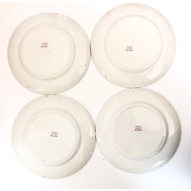 Old Foley Chinese Rose Staffordshire Dinner Plates - Set of 4 For Sale - Image 4 of 6