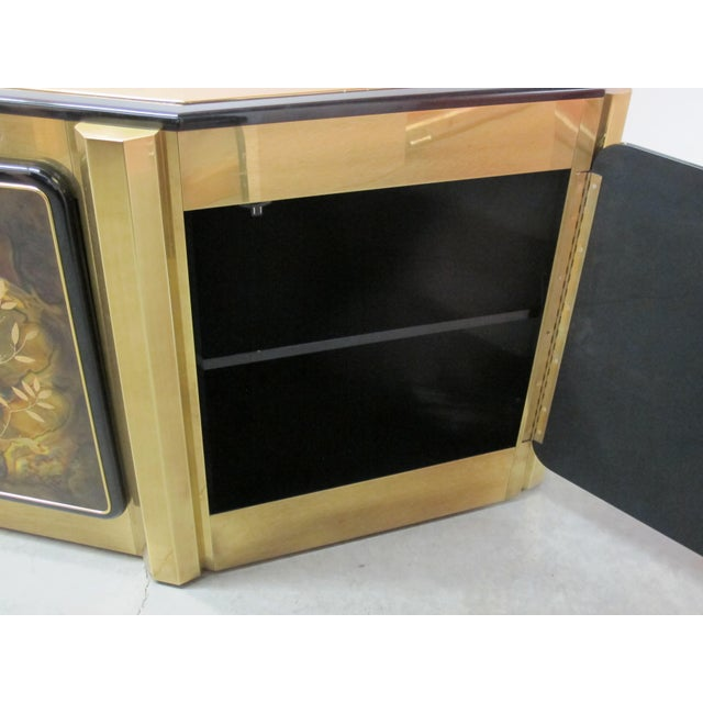 Black 1970s Hollywood Regency Mastercraft Tree of Life Solid Brass and Black Lacquer Buffet For Sale - Image 8 of 12
