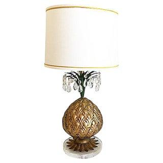 1950s Italian Gilt Pineapple Lamp & Shade For Sale