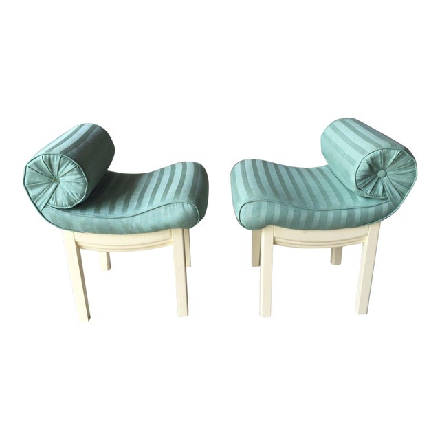 1950s Hollywood Regency Sensual Curvaceous Vanity Stools - a Pair For Sale