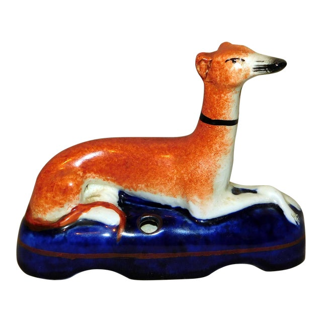 Antique Staffordshire Whippet Pen Stand For Sale