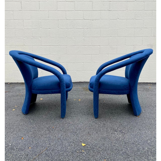 Modern Carson's Blue Upholstred Sculpture Chairs - a Pair For Sale - Image 3 of 12
