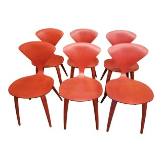 Cherner Red Wood Dining Chairs - Set of 6