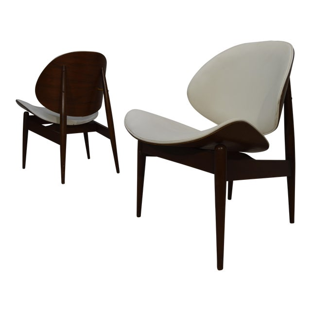 Kodawood Bent Walnut & Leather Lounge Chairs - A Pair - Image 1 of 3