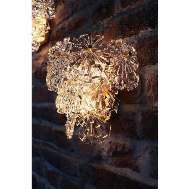 1970s Germany Kinkeldey Starburst Wall Sconces Crystals on Gilt-Brass - a Pair For Sale - Image 6 of 13