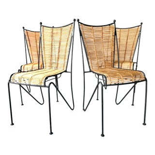 Ficks & Reed Mid-Century Modern Bamboo & Rod Iron Dining Chairs - Set of 4 For Sale