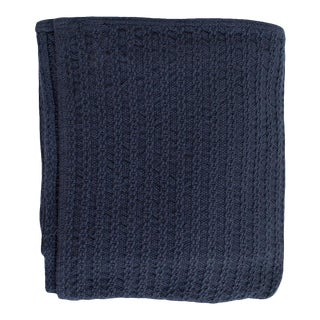 Cableknit Blanket in Indigo, King For Sale