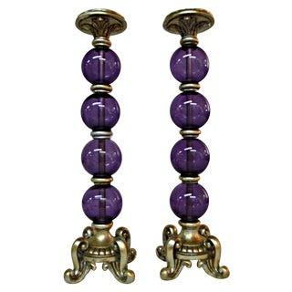 Purple Glass Balls Candleholders - Pair