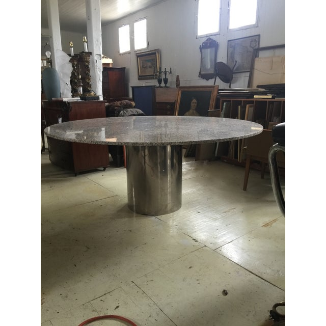 Marble & Chrome Dining Table For Sale - Image 9 of 9