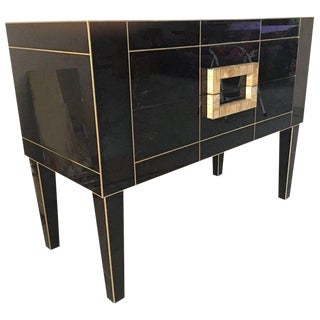 Black Mirrored Commode With Spectacular Ivory Glass Handle For Sale