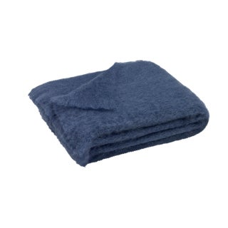 Indigo Brushed Mohair Throw For Sale