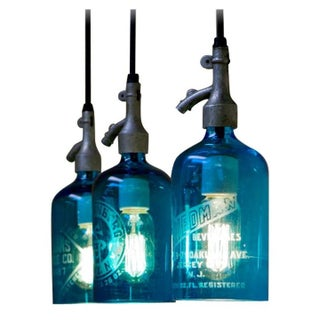 Trio of Seltzer Bottle Lighting Fixtures