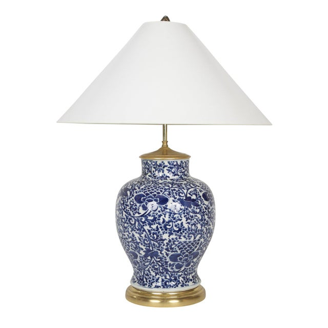 19th Century Chinese Blue & White Porcelain Vase now a Lamp For Sale - Image 11 of 11