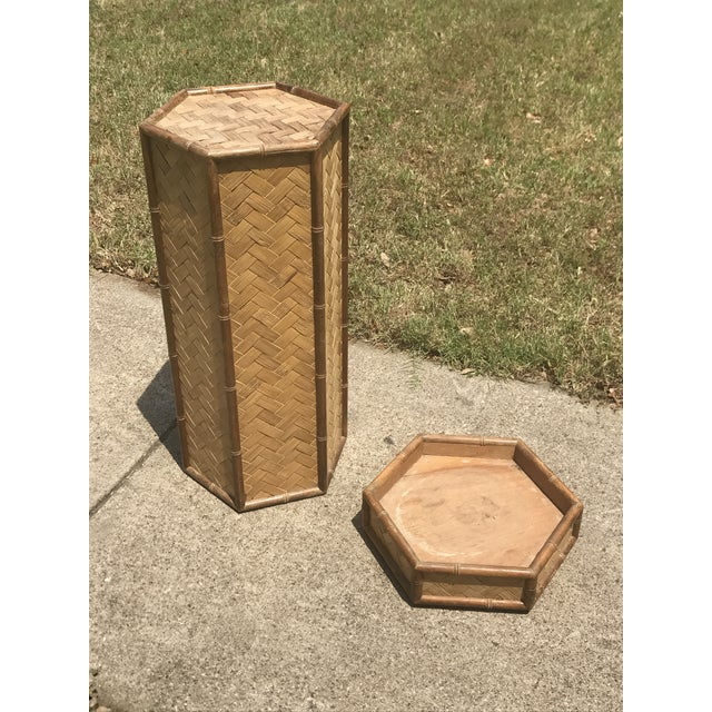Rolling Woven Bamboo Pedestal Plant Stand For Sale - Image 4 of 10