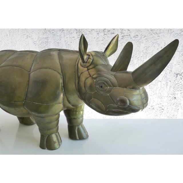 Mid-Century Modern Sergio Bustamante Brass Rhino Sculpture for SerMel For Sale - Image 3 of 13