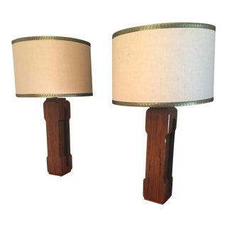 Mid-Century Modern Walnut & Iron Table Lamps With Huge Shades - a Pair For Sale