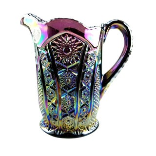 Indiana Glass Amethyst Carnival Heirloom Paneled Daisy Pitcher For Sale