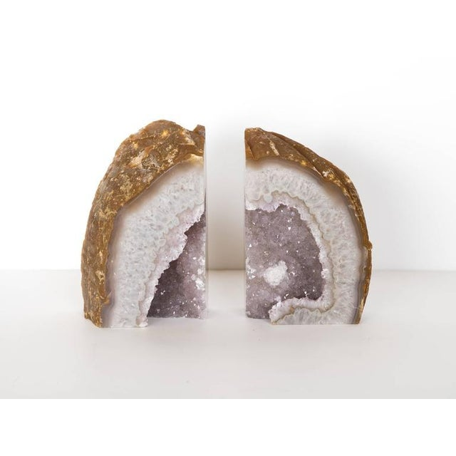 Organic Modern Crystal & Agate Bookends with Amethyst Center For Sale In New York - Image 6 of 8