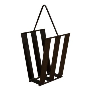 1960s Mid Century Modern Iron Magazine Rack For Sale