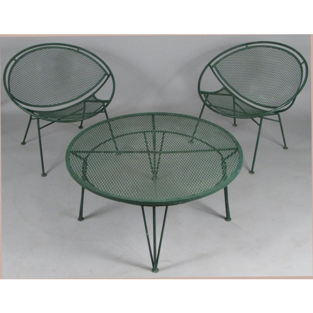 1950's Radar Lounge Chairs and Coffee Table by Salterini - Set of 3 For Sale - Image 9 of 9