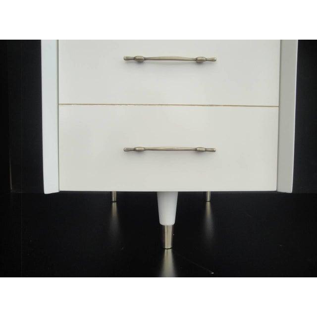 Gold 1960s Mid Century Modernist Floating Top Curved Partner Desk For Sale - Image 8 of 11