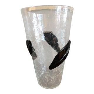 Large Blenko Blown Crackle Glass Clear Vase For Sale