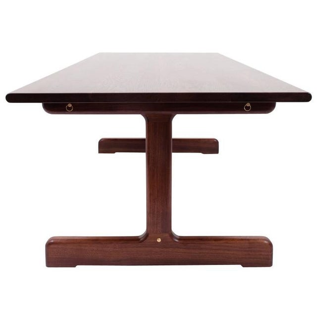 Metal Asa Pingree Physalia Dining Table with Low Profile Foot in American Walnut For Sale - Image 7 of 7
