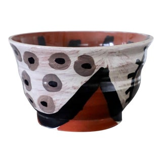 Don Nakamura Terracotta Bowl With Black and Cream Glaze For Sale