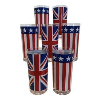 Vintage American Flag & British Flag Highball Glasses - Set of 7