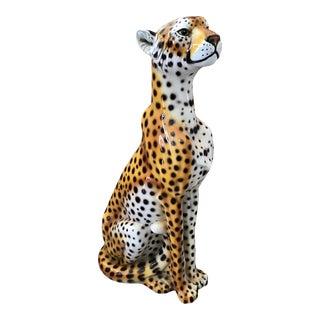 Boho Chic Large Ceramic Leopard Statue For Sale