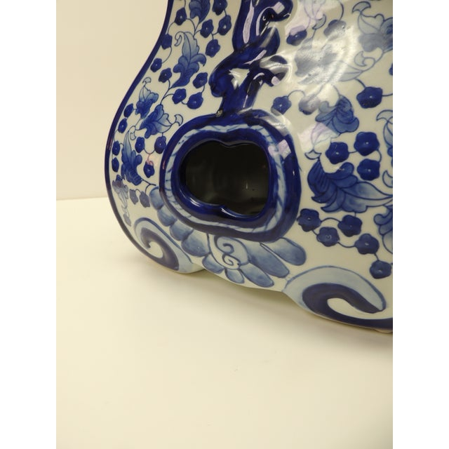 Vintage Blue and White Ceramic Painted Garden Stool For Sale - Image 4 of 7