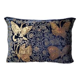 Hand Painted Butterfly Venetian Velvet Pillow For Sale