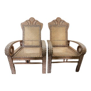 1920s Vintage Moroccan Inlay Chairs - a Pair For Sale