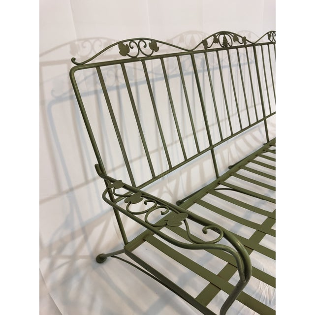 Metal Vintage Woodard Style Wrought Iron Sofa For Sale - Image 7 of 12