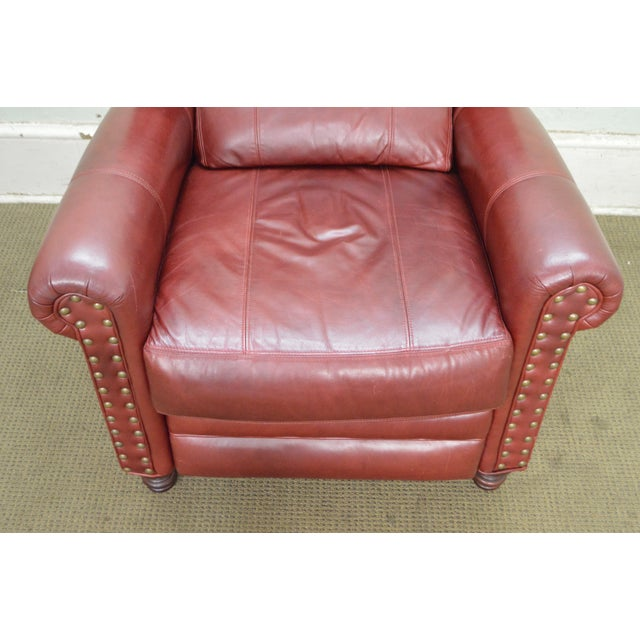Bradington Young Oxblood Leather Recliner Lounge Chair - Image 7 of 10