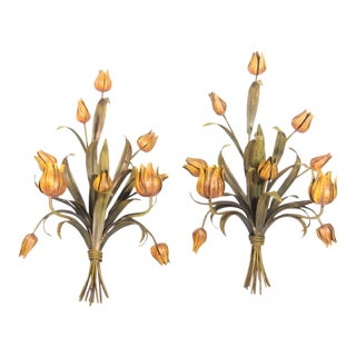 1950s Italian Tole Floral Wall Sconces - a Pair