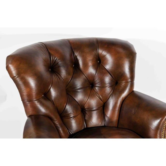 Chesterfield Style Tufted Rocker with Brass Nailheads For Sale - Image 4 of 11