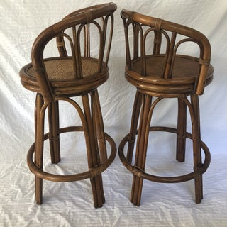 Mid-Century Bamboo Swivel Barstools - a Pair Preview