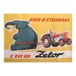 1950-1960's Original Czech Advertisement Poster - Zetor Tractor For Sale