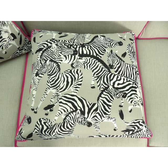 Contemporary Zebra Pillows, Custom Made with Hidden Zipper - a Pair For Sale - Image 3 of 6