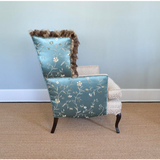 Silk & Fur Teal & Champagne Wingback Chair For Sale - Image 4 of 9