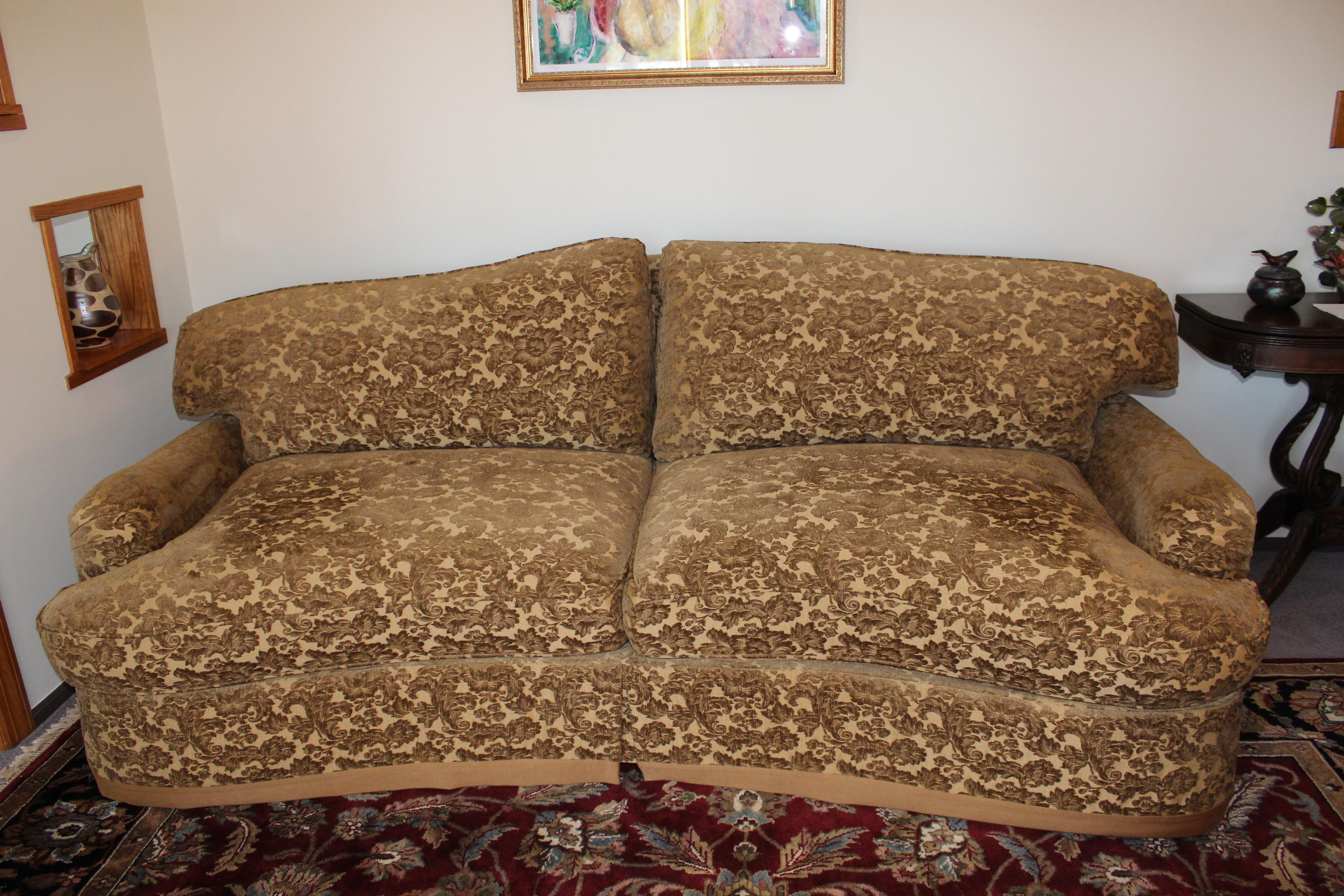 Traditional Burton James Gold Brocade Couch For Sale   Image 3 Of 3