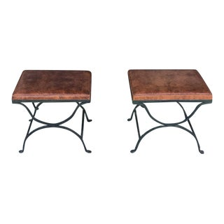 1960s Vintage Metal Sitting Stools- a Pair For Sale